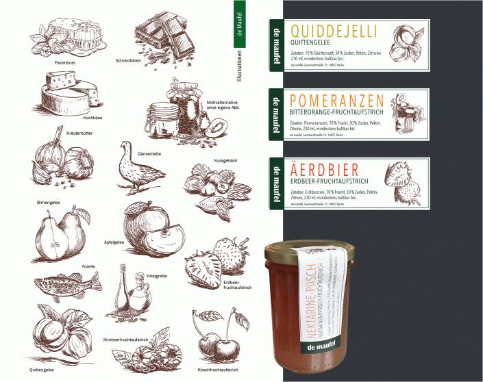 Handgezeichnete Quitte, Erdbeeren Birnen, Schokolade und mehr für Glas-Etiketten