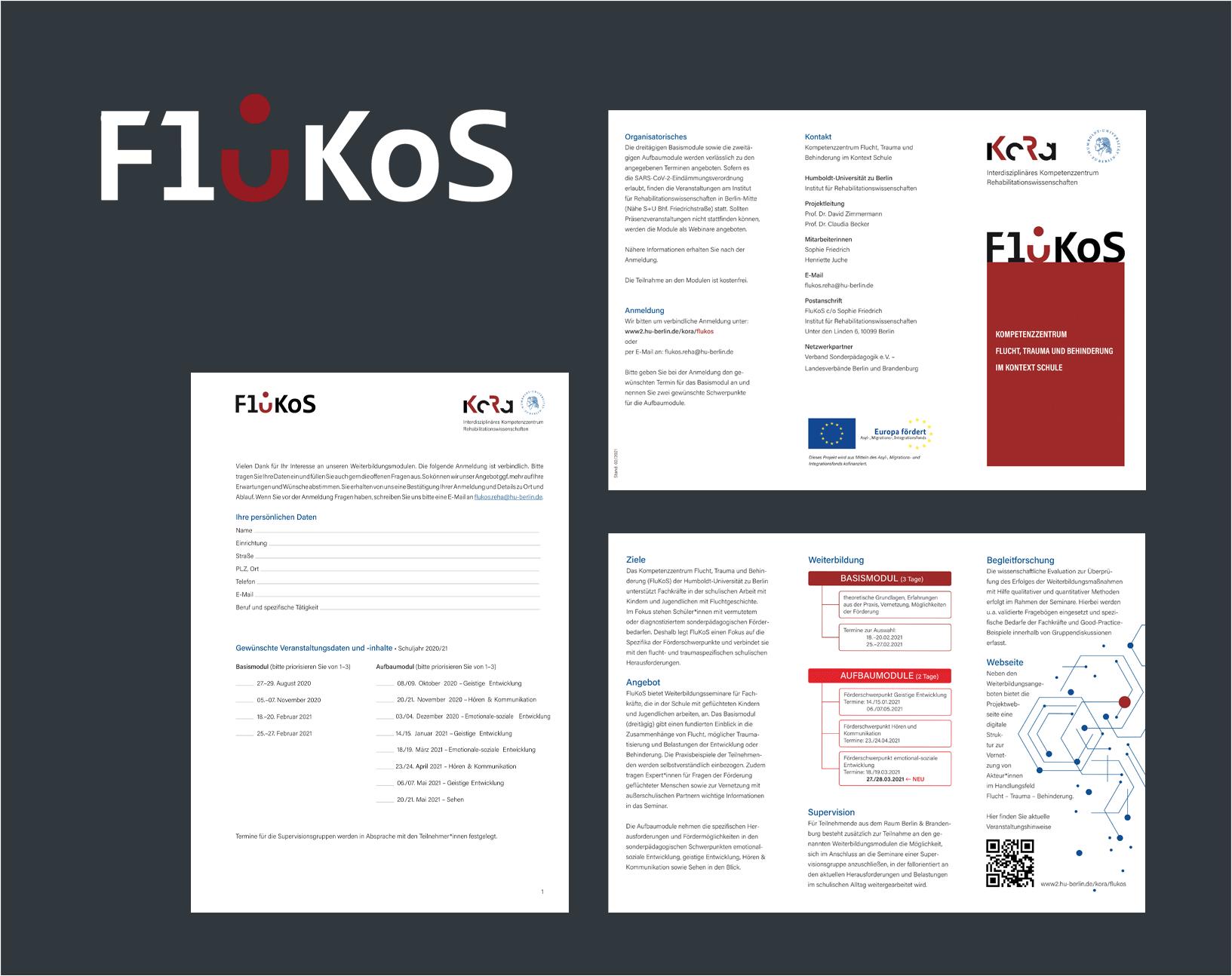 gezeigt werden das FluKoS-Logo und Beispiele der Umsetzung wie Website, Flyer, Anmeldung