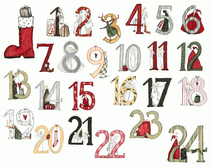 Adventskalender mit Figuren, Geschenkpaketen, Herzen