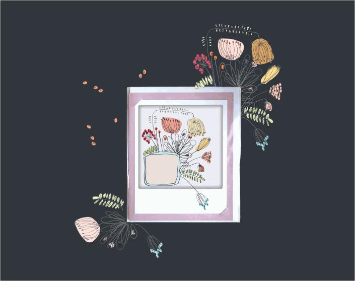 Etikett mit Blumen drumherum angeordnet
