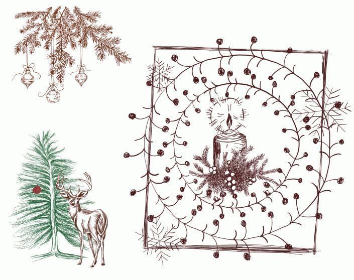 Weihnachtsmotive Tannenzweig, Adventskranz, Kerze, Fichte mit roter Kugel und Hirsch davor