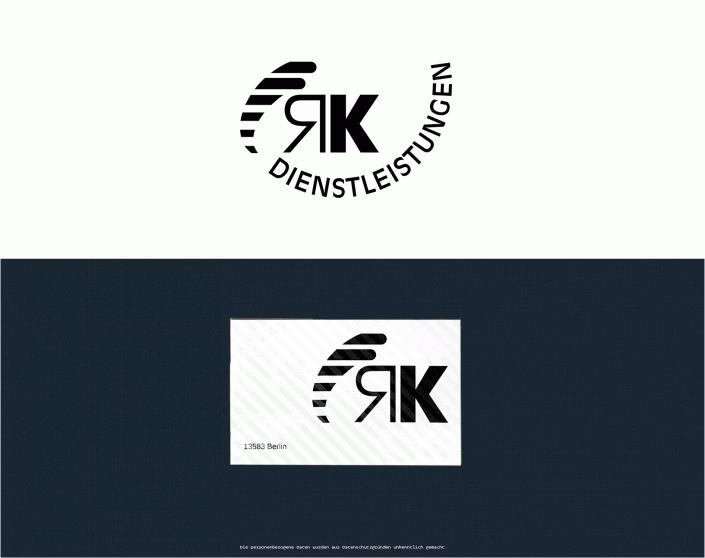 Darstellung Logo RK Dienstleistungen und Beispiel Visitenkarten